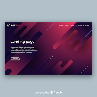 Modern landing page com design abstrato