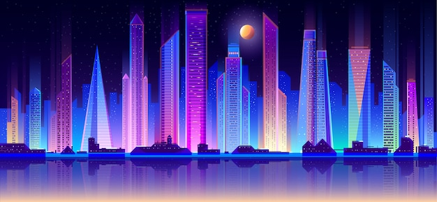 Modern metrópole noite paisagem plana vector