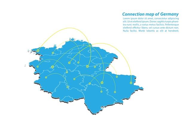 Modern of germany map design de rede de conexões