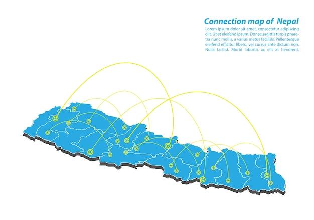 Modern of nepal map design de rede de conexões