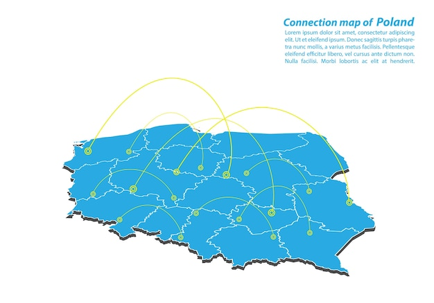 Modern of poland map design de rede de conexões