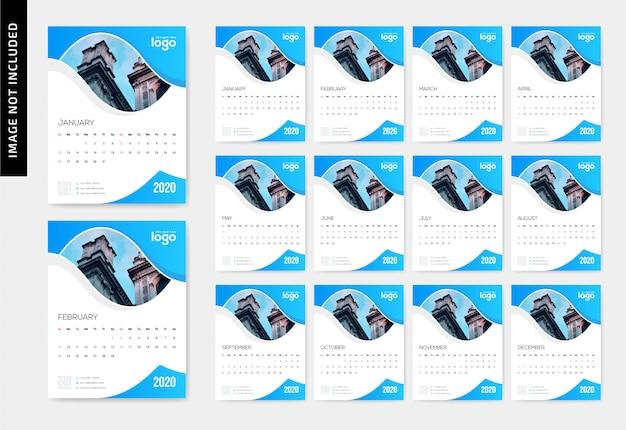 Modern parede calendário 2020 com bela forma ondulada