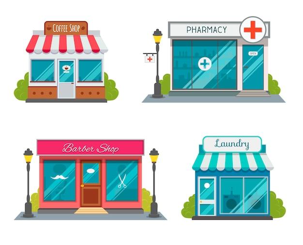 Modern restaurante de fast food e edifícios comerciais, fachadas de lojas, boutiques