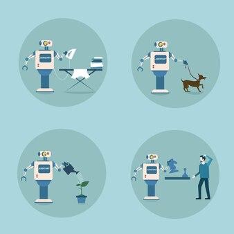 Modern robot icon set tecnologia de limpeza de mecanismo de inteligência artificial futurista