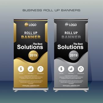 Modern roll up banner em ouro e cor cinza.