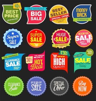 Modern sale stickers and tags coleção colorida