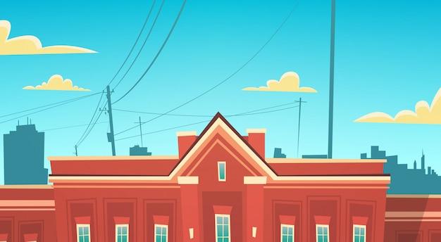 Modern school building exterior bem-vindo de volta à educação