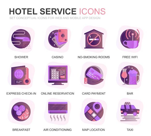 Modern set hotel services ícones lisos gradientes