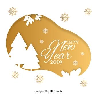 Moderna ano novo 2019 composição com design plano