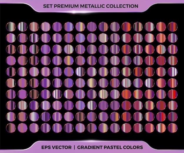 Moderna coleção colorida gradiente roxo de metal, cobre e bronze mega coleção de paletas de metal pastel para molduras de bordas, modelos de etiquetas de capa de fita