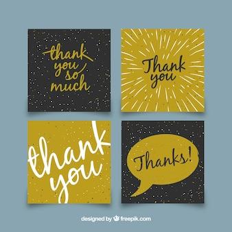 Moderna coleção de cartões de agradecimento
