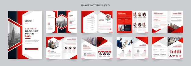 Moderna cor vermelha e preta modelo de design de brochura de empresa corporativa resumo tema de 16 páginas