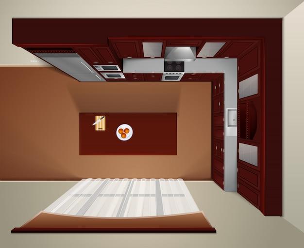 Moderna cozinha de luxo com armários de canto de madeira escura e mesa de jantar