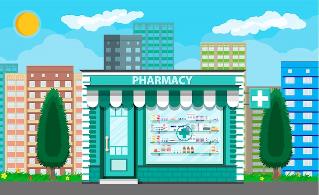 Moderna exterior farmácia ou drogaria.