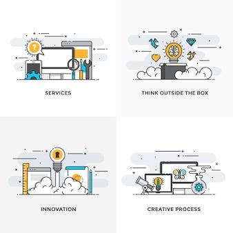 Moderna linha de cores planas projetou ícones de conceitos para serviços, pense fora da caixa, inovação e processo criativo.