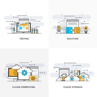 Moderna linha plana de cores projetou ícones de conceitos para teste, solução, computação em nuvem e armazenamento em nuvem.
