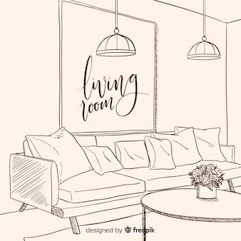 Moderna mão desenhada sala de estar