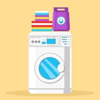 Moderna máquina de lavar roupa cor ilustração vetorial