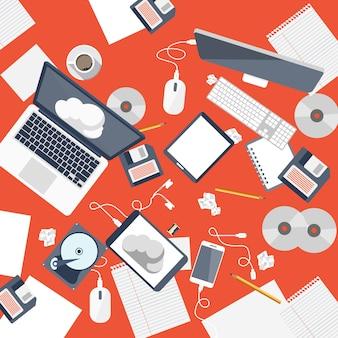 Moderna mesa de trabalho de escritório com equipamento de escritório