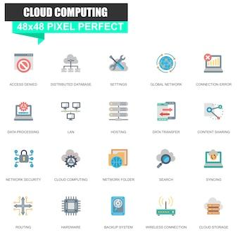 Moderna rede plana e conjunto de ícones de tecnologia de nuvem