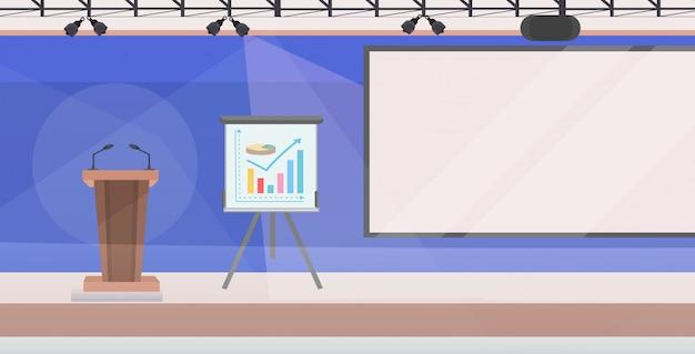 Moderna sala de conferências com flip-chart tribuna e placa vazia sem pessoas sala interior plana horizontal