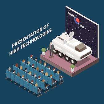 Moderna sala de conferências de alta tecnologia apresentando composição isométrica com o veículo espacial autônomo de exploração marte no pódio