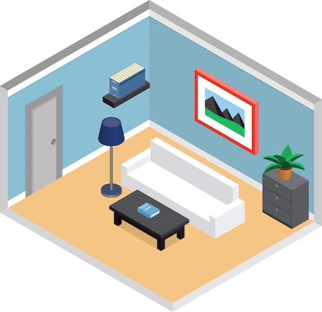Moderna sala de estar com móveis e porta. interior em estilo isométrico. ilustração d.