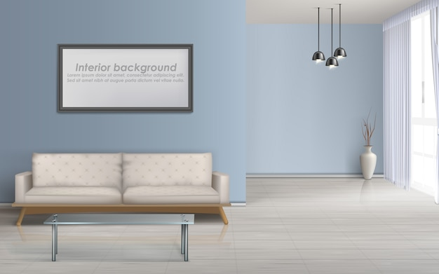 Moderna sala de estar design minimalista maquete de vetor realista interior espaçoso com piso laminado