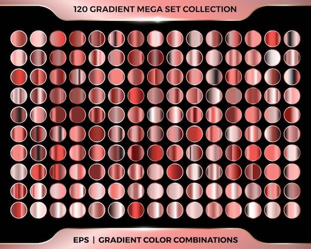 Modernas paletas de gradiente colorido e brilhante de metal rosa, ouro, cobre e bronze com combinação de mega coleção de conjuntos
