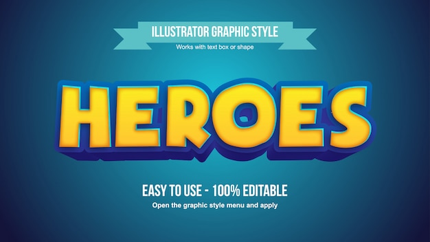 Moderno amarelo azul 3d cartoon texto editável estilo gráfico