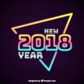 Moderno ano novo brilhante sinal de néon