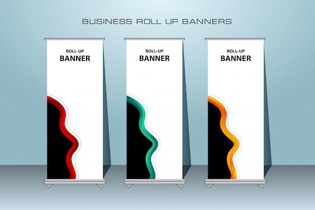 Moderno arregaçar banner. modelo de banner vertical.