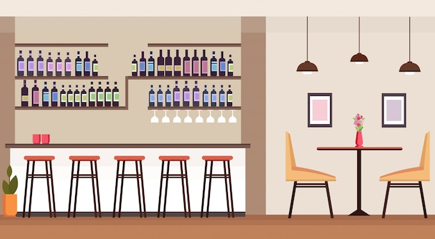 Moderno bar de cocktails com garrafas de álcool vazio ninguém restaurante interior contador cadeiras cadeiras mesa plana horizontal