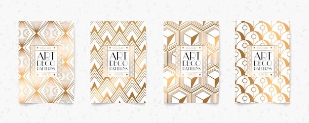 Moderno branco e ouro padrão art deco geometria estilo textura de fundo