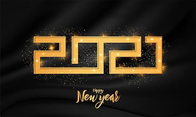 Moderno cartão de feliz ano novo de 2021 com ornamento de efeito de texto 3d dourado de luxo