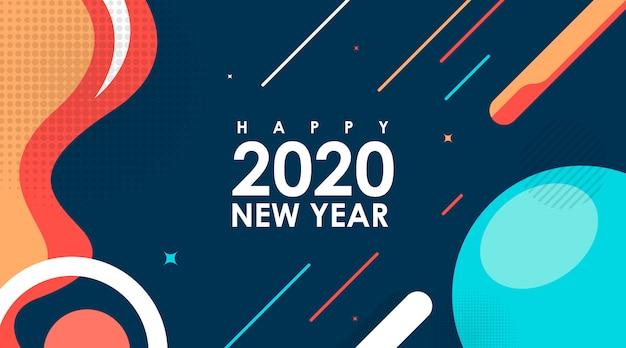 Moderno cartão liso de feliz ano novo 2020 em memphis design