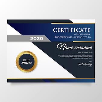 Moderno certificado de modelo de agradecimento com formas azuis