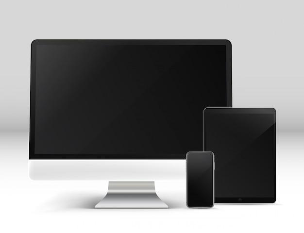 Moderno computador pessoal e outros gadgets em uma mesa frente fotoreal de vetor