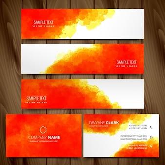 Moderno conjunto de cartões de visita e cabeçalhos web