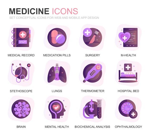 Moderno conjunto de cuidados de saúde e medicina ícones planos gradientes