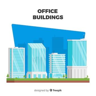 Moderno conjunto de edifícios de escritórios com design plano