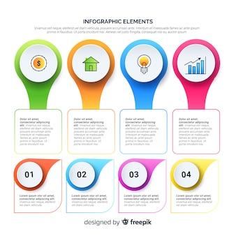 Moderno conjunto de elementos de infografia com design plano
