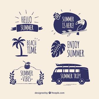 Moderno conjunto de emblemas de verão