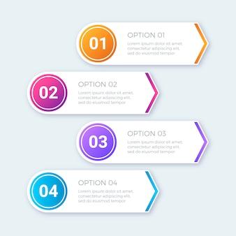 Moderno conjunto de infográficos de passos coloridos
