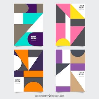 Moderno conjunto de modelos de capa com desenho geométrico