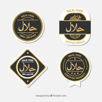 Moderno conjunto de rótulos de alimentos halal com design plano