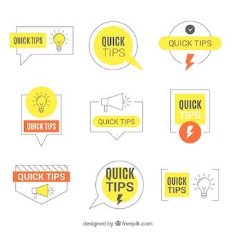 Moderno conjunto de rótulos de dicas com design plano