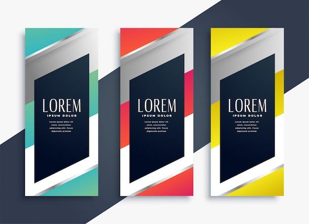 Moderno conjunto geométrico de banners verticais
