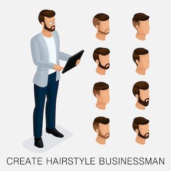 Moderno conjunto isométrico 4, estudo qualitativo, um conjunto de penteados masculinos, estilo hippie.