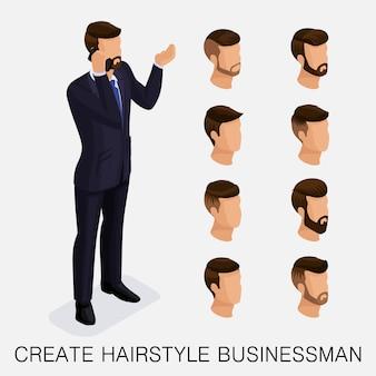 Moderno conjunto isométrico 5, estudo qualitativo, um conjunto de penteados masculinos, estilo hippie.